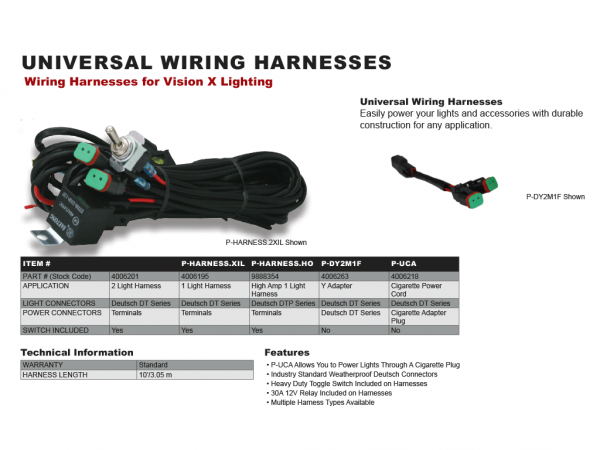 Wondrous Vision X Universal Wiring Harness Incl Toggle Switch And Relay For Wiring 101 Akebwellnesstrialsorg