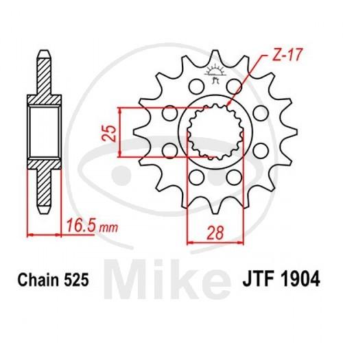 JT-Sprockets Front Sprocket 525 Naked Steel 17 Teeth KTM 950 990 1050 1190 1290